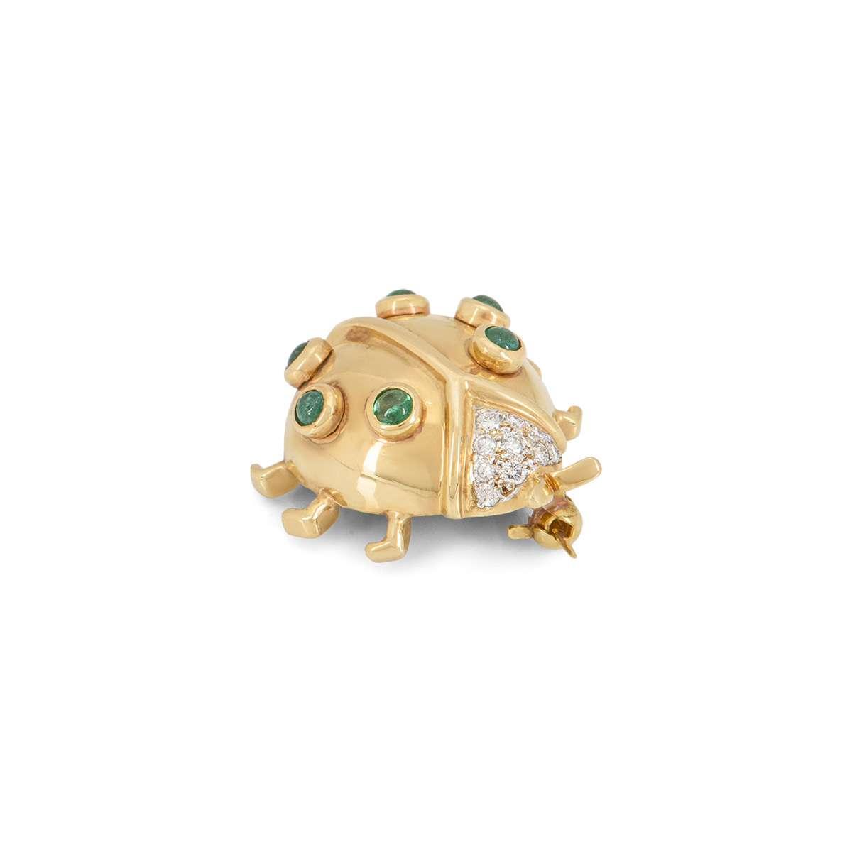 Yellow Gold Diamond and Emerald Ladybird Brooch